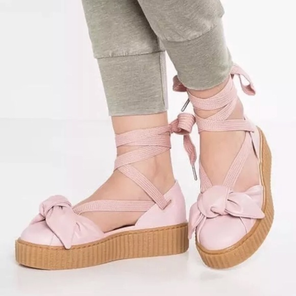 quality design 7f0d7 fe914 NEW PUMA FENTY Rihanna BOW CREEPER SANDALS- Pink